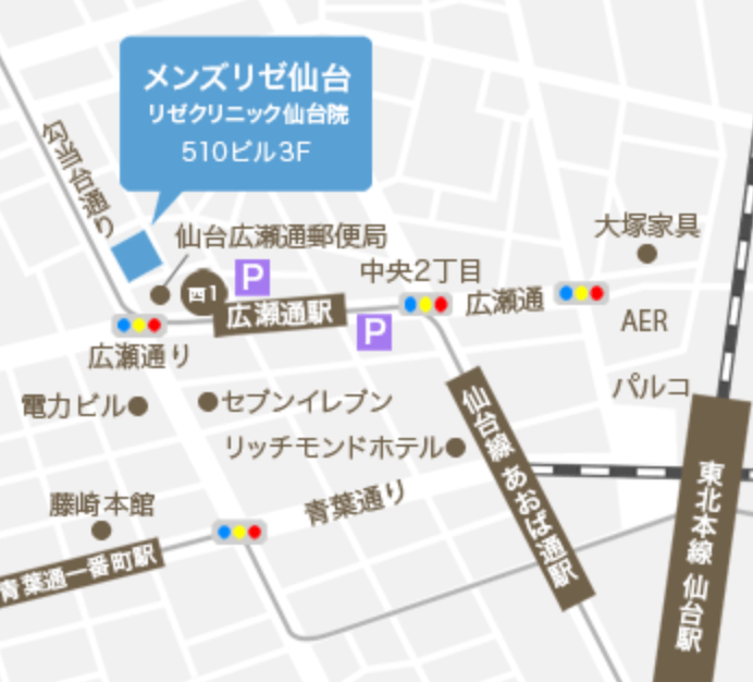 MEN'S RIZE(メンズリゼ)仙台の地図