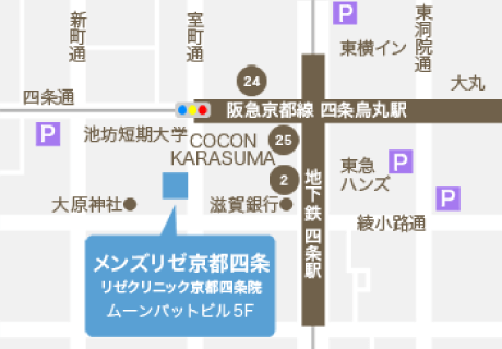 MEN'S RIZE(メンズリゼ)京都四条への地図