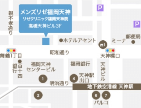 MEN'S RIZE(メンズリゼ)の福岡天神の店舗へのイラスト